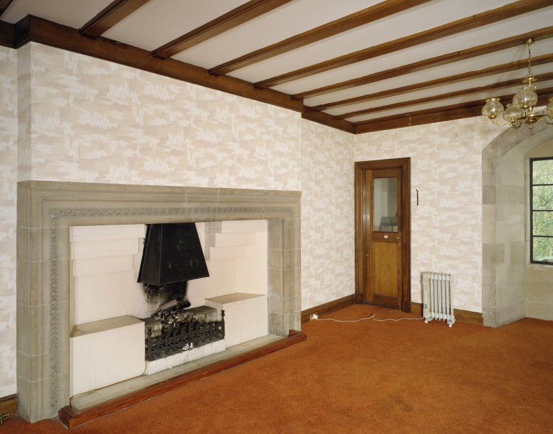 Interior. First floor view of long hall fireplace