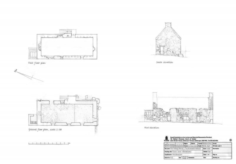 Ground floor plan, First floor plan, South elevation and West elevation