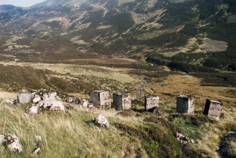 Glenshee, Devil's Elbow, anti-tank blocks, view looking NE of N end of row of blocks showing some reduced to stumps.