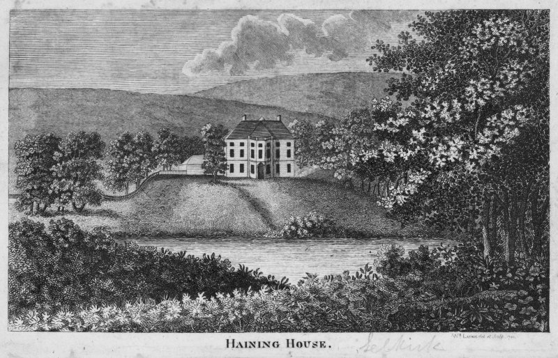Engraving showing general view. Titled: 'Haining House'