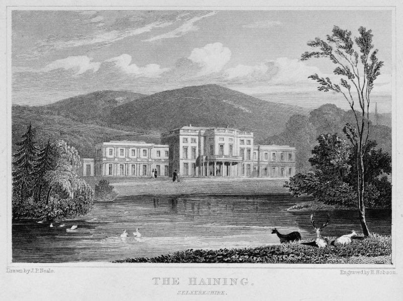 Engraving showing view of the house.