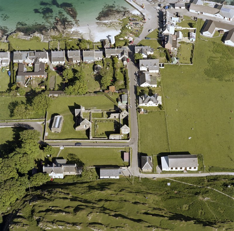 Oblique aerial view of Iona Nunnery, taken from the west, centred on the nunnery.
