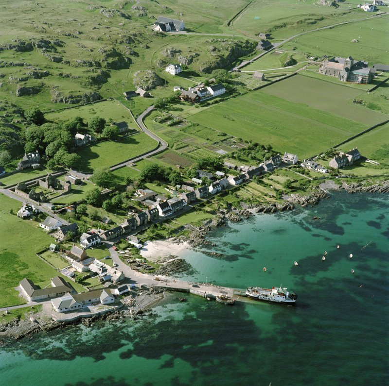 Oblique aerial view of Iona Nunnery, taken from the south east, centred on the nunnery.