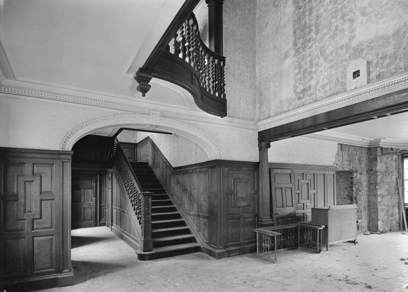 Interior. View of hall and staircase.