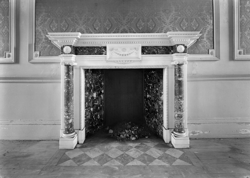 Interior. Detail of drawing room chimneypiece.