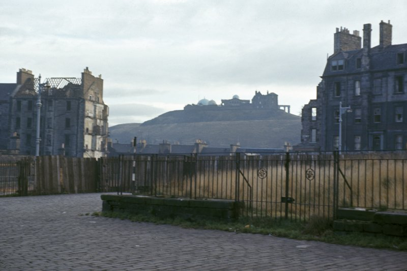 St James Square, Edinburgh. View to Calton Hill from NE across St James Square during its demolition. View is through a demolished gap in the E side of the square.