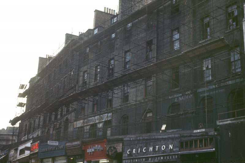 View from NE of Leith Street immediately prior to demolition, showing the 2nd level of shops on the N side.