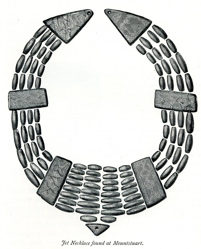 Drawing of the jet necklace (Hewison 1893, 70).