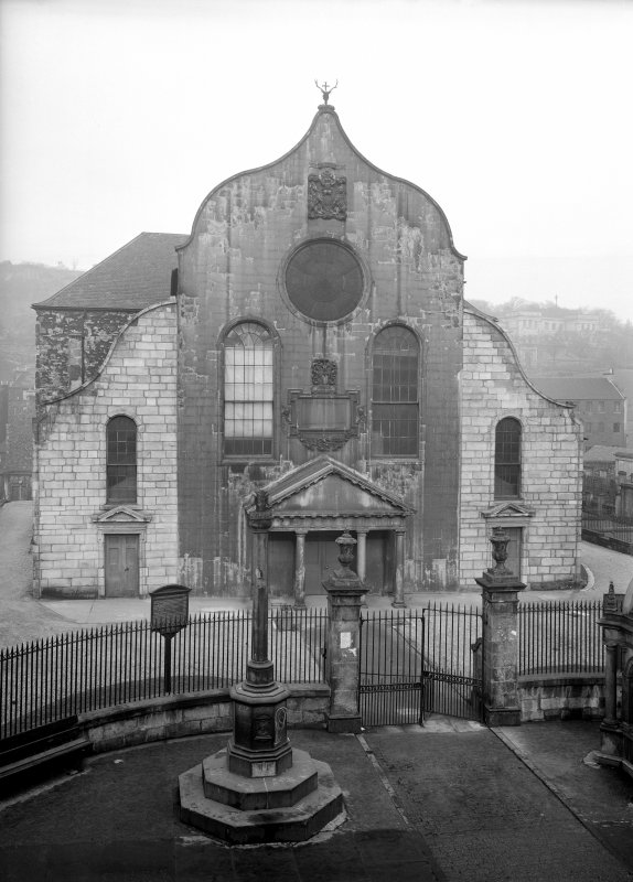 View of Canongate Church from South, also showing Burgh Cross.