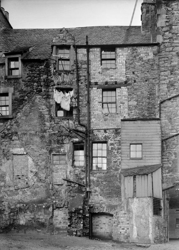 Edinburgh, 82, Canongate, Nisbet of Dirleton's House. View of the back of the house, four storeys with many additions in a variety of bulding materials.