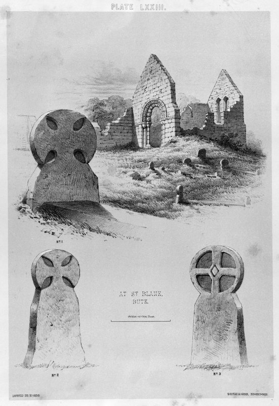 Copy of an illustration of 3 carved stones, one in situ with church behind (from SW). From J Stuart, The Sculptured Stones of Scotland, vol. ii, 1867, plate lxiii.