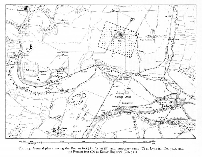 General map showing the Roman fort, fortlet and temporary camp at Lyne and the Roman fort at Easter Happrew.