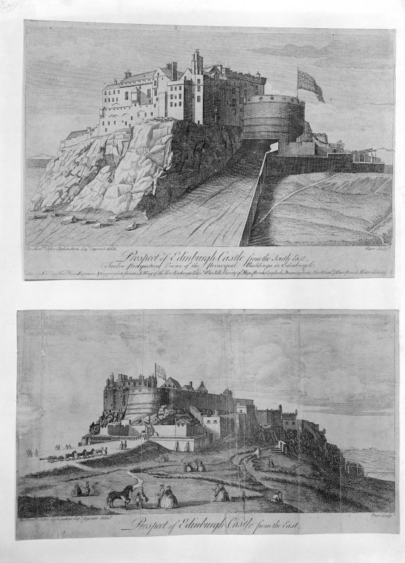 Two prints on one negative of Edinburgh Castle: 1 Prospect of Castle from South East (after Elphinstone?) 2 Prospect of Castle from East