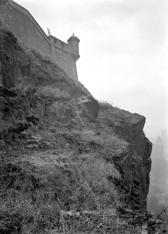 Edinburgh Castle North side Rock and wall