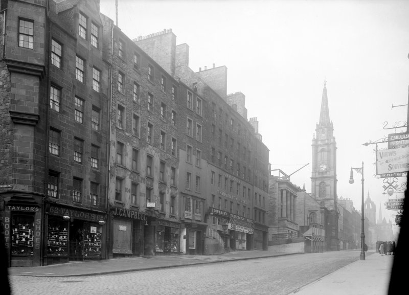General view of High Street between Canongate and North Bridge showing Tron Church