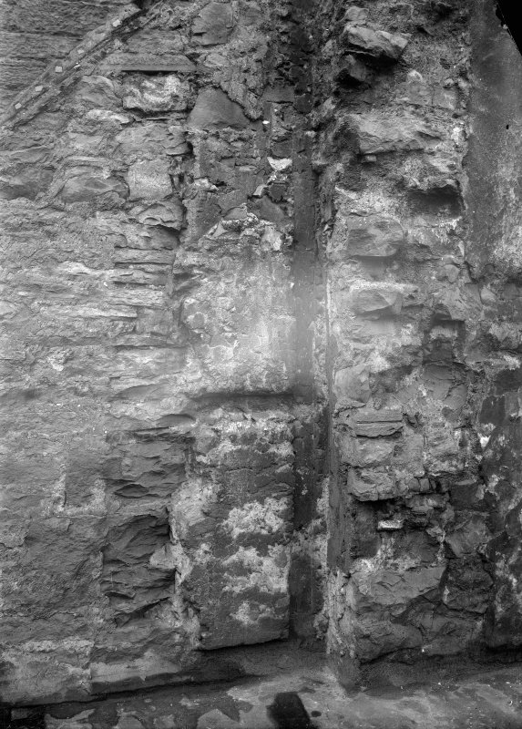 Detailed view of the stonework of the Flodden Wall and tower.