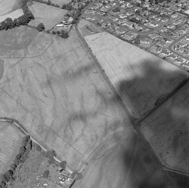 Dalginross, oblique aerial view, taken from the SSW, centred on the cropmarks of the Roman Temporary camp. The S corner of the Roman fort is visible in the top left-hand corner of the photograph.