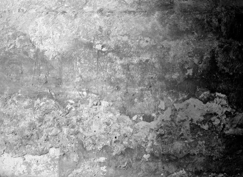Interior. Detail of wall plaster inscribed with plan of vaulting.