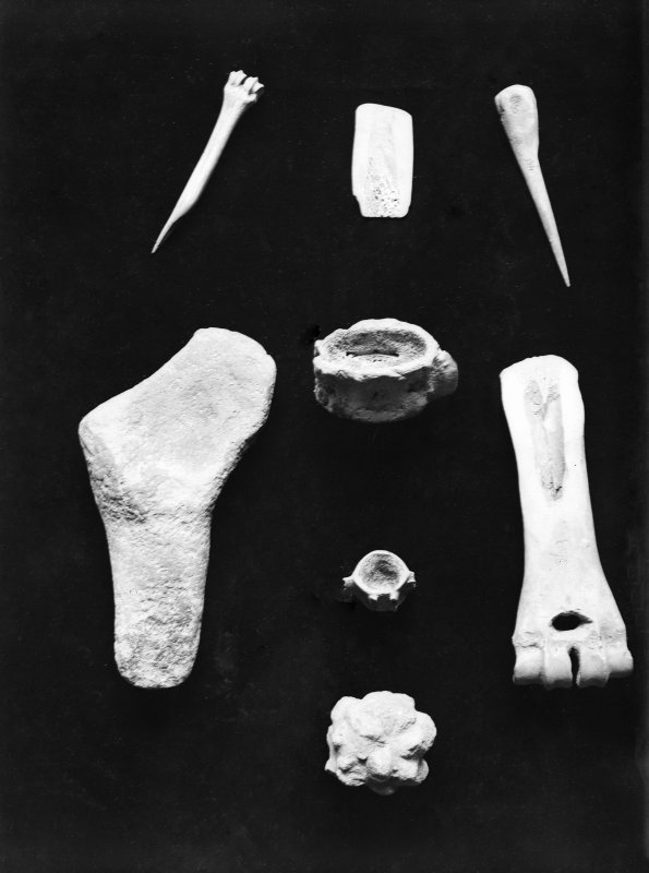 Finds Photograph:  Bone artefacts.