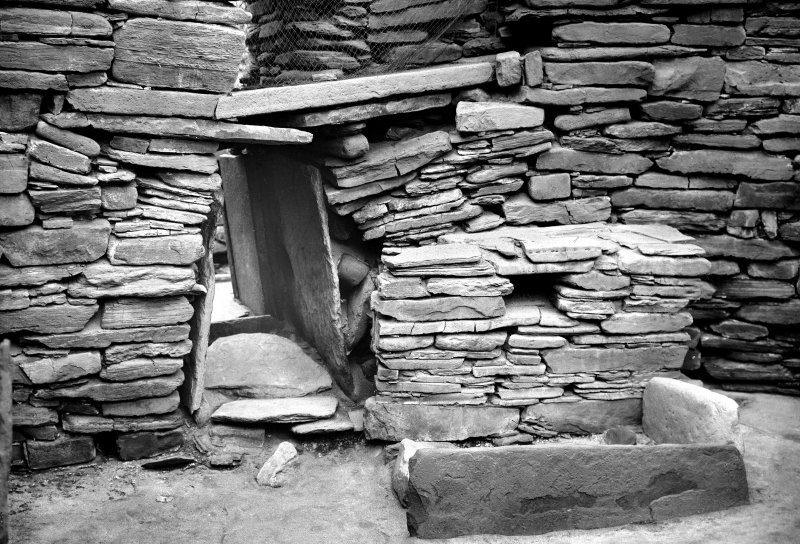 Skara Brae Hut 7, the doorway. Positive, duplicate negative and postcard also included.