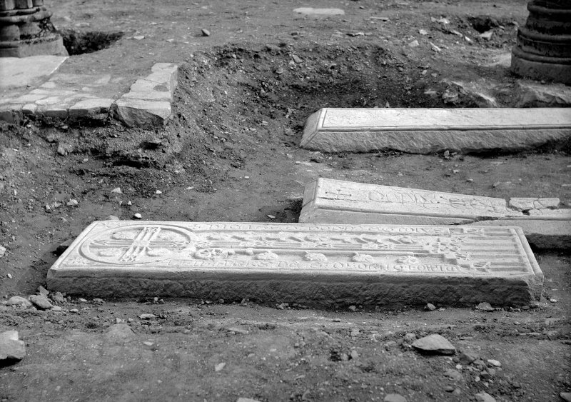Interior. Detail of grave slabs.
