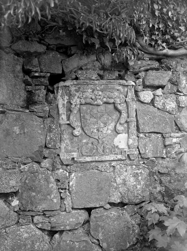 Ardchattan Priory View of carved armorial crest set in wall