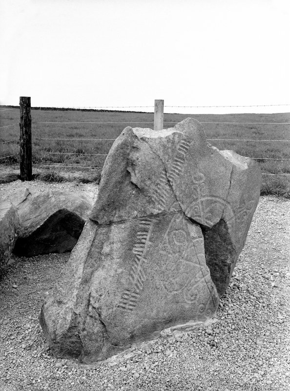 View of of the Brandsbutt symbol stone, Inverurie, showing the ogham inscription.