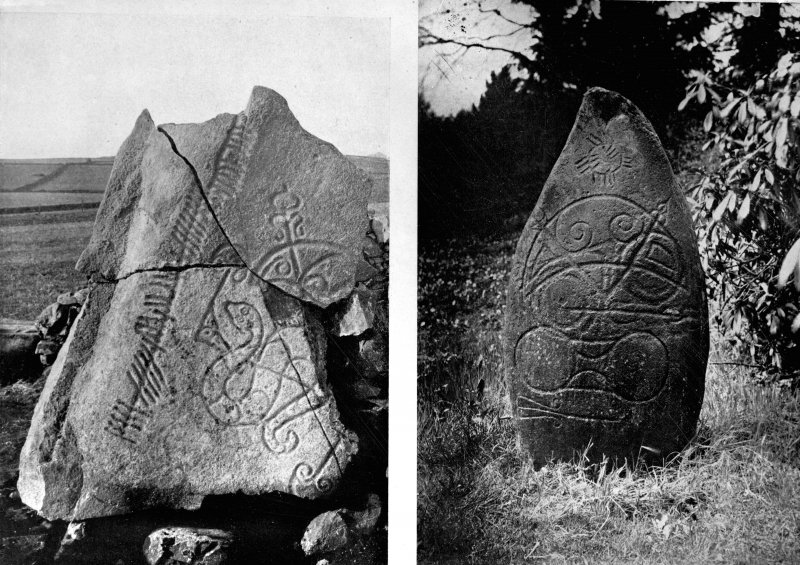 View of of the Brandsbutt and Logie Elphinstone symbol stones with ogham inscription.