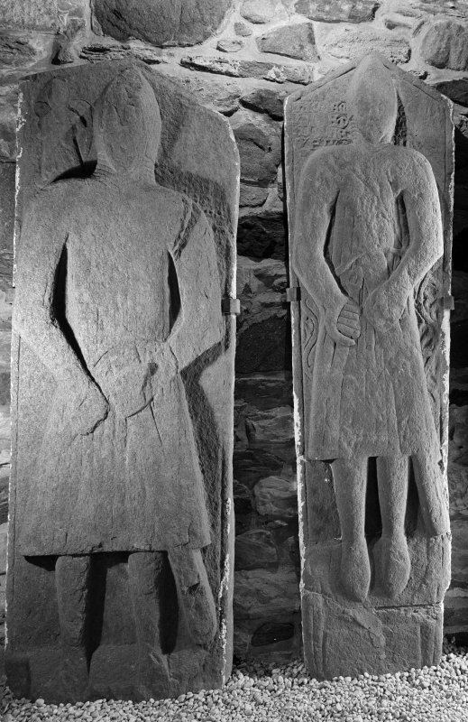 Kilberry, carved-stone shelter. General view of West Highland effigy of a knight.