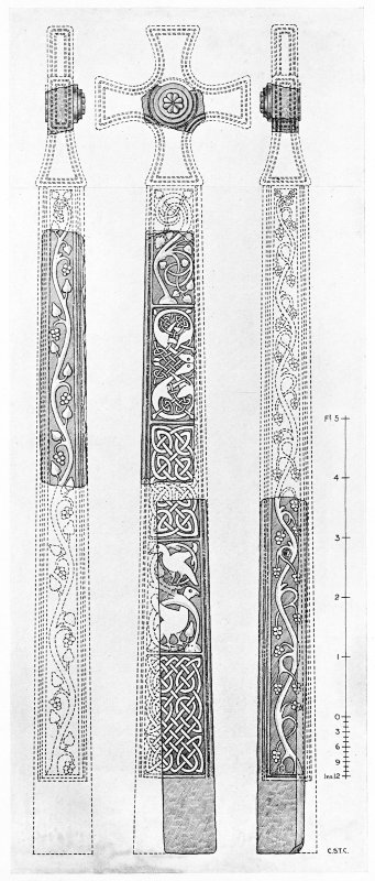 Photographic copy of drawing of the front and side views of restored cross.