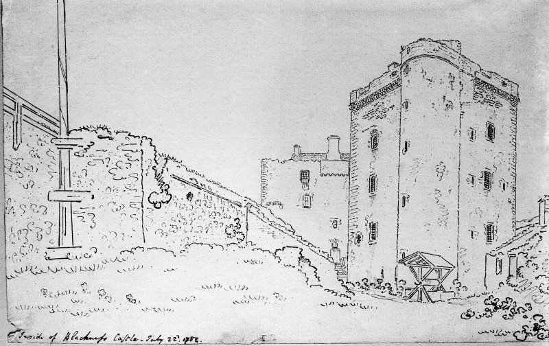 Photographic copy of drawing showing view from NE inside courtyard.  Titled: 'Inside of Blackness Castle. July 22d, 1782'.