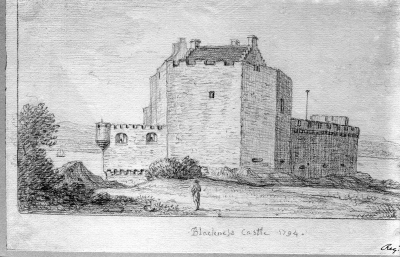 Photographic copy of drawing showing view from S. Titled: 'Blackness Castle. 1794'.