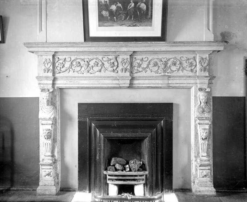 Interior view of Argyll's Lodging, Stirling, showing detail of upper hall fireplace.