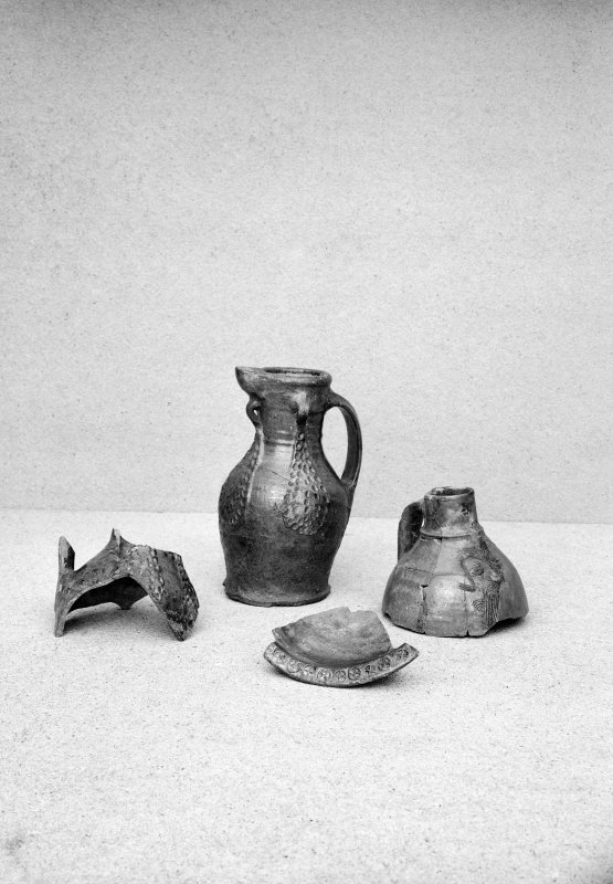 View of pottery vessels and fragments.