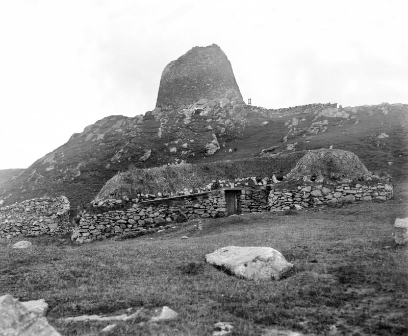 View of broch and blackhouse from south-west.