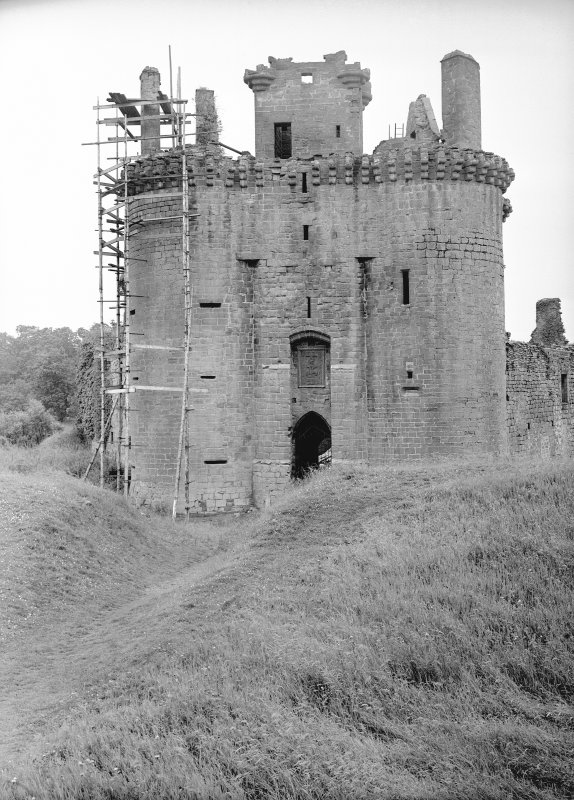 Caerlaverock Castle. View of gatehouse from North.