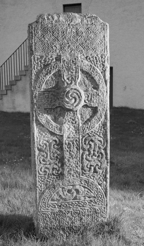 View of front face of cross slab at Farr, Clachan.