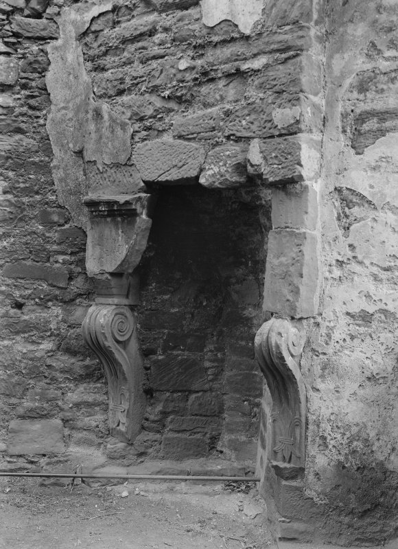 Caerlaverock Castle, interior. View of fireplace.