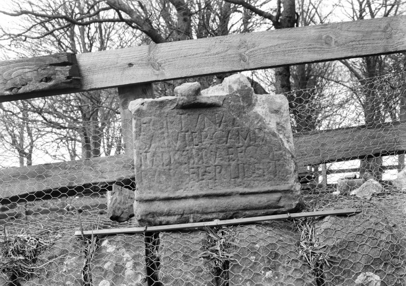 Pedestal of Roman altar found in Knockhill Summerhouse, thought to be from Birrens Roman Fort.