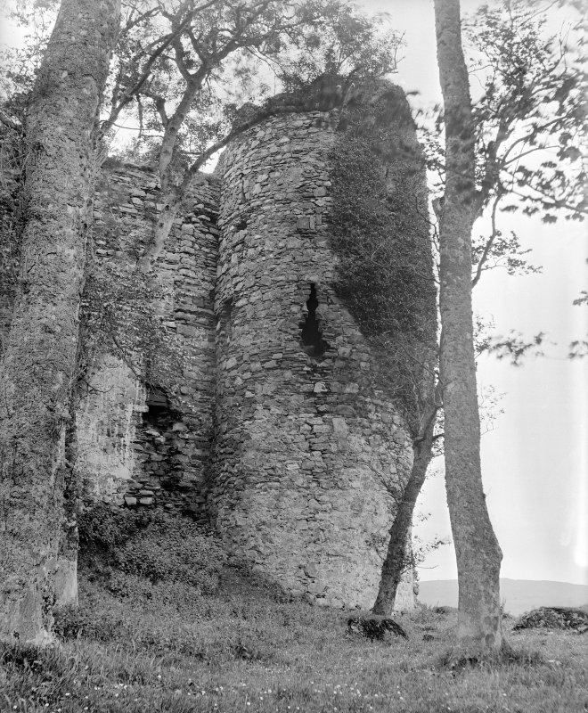 Castle Sween. View of round tower from North-East.