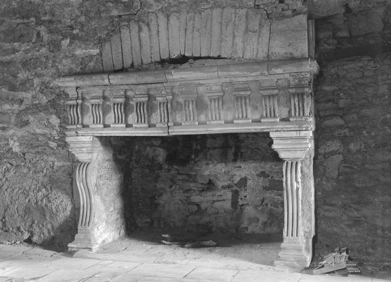 Spedlin's Tower. Hall, detail of fireplace prior to repair.