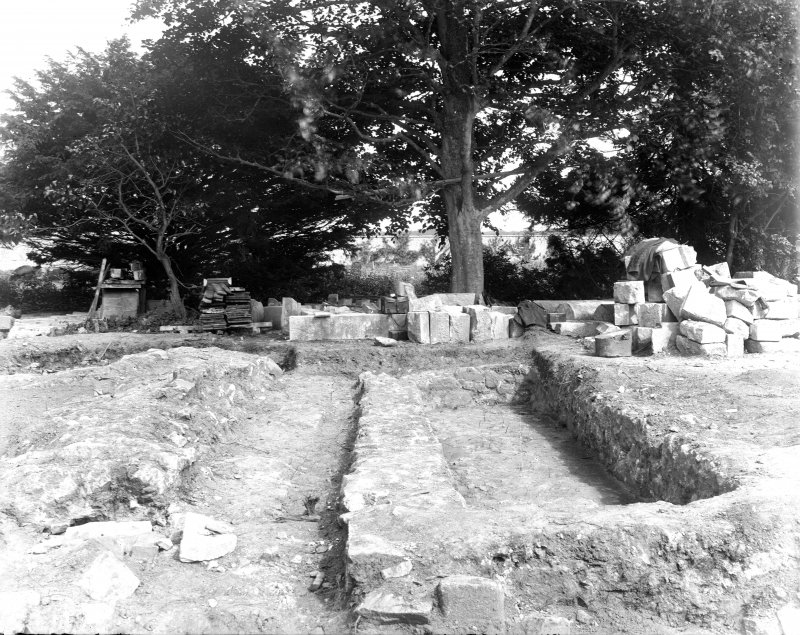 View of excavation at South wall of presbytery.