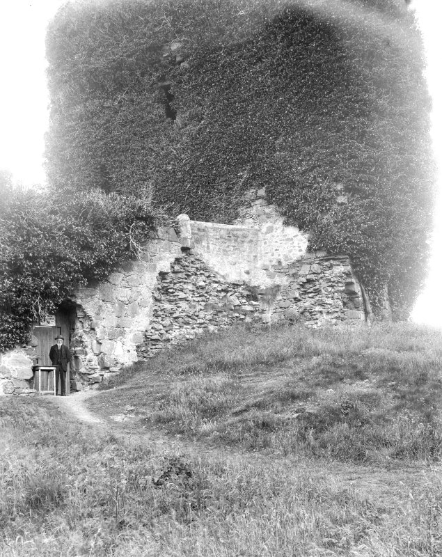 Dunolly Castle. View of lower part of tower.