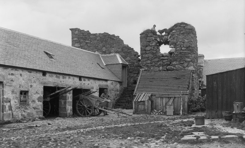 View of ruin and farm buildings, Lethendry Tower