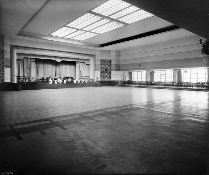 Interior. General view of main hall including stage from North-East. Insc:'Annan 38.548' Stamped: 'J. and J. A. Carrick Architects, Ayr'
