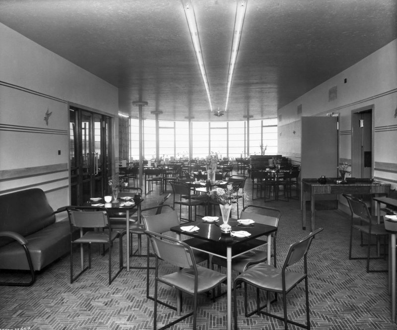 Interior. General view of buffet. Insc:'Annan 38.657' Stamped: 'J. and J. A. Carrick Architects, Ayr.'