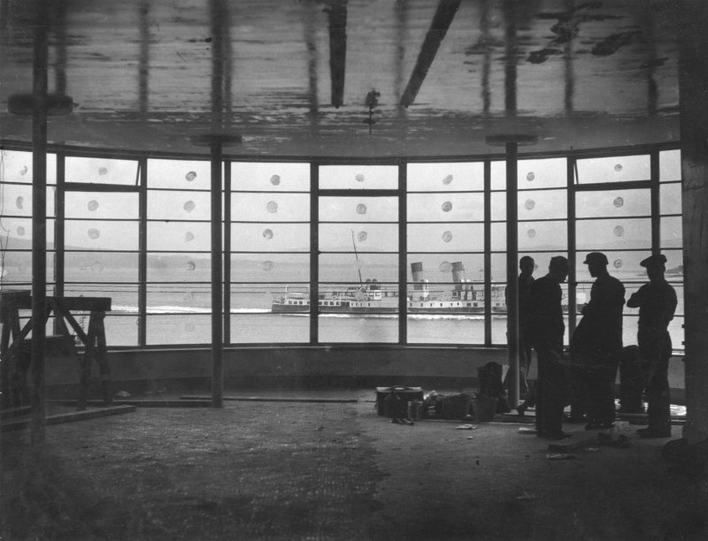 View of Rothesay Bay through buffett window of the Rothesay Pavilion whilst under construction.