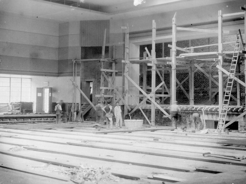 View of main hall under construction.
