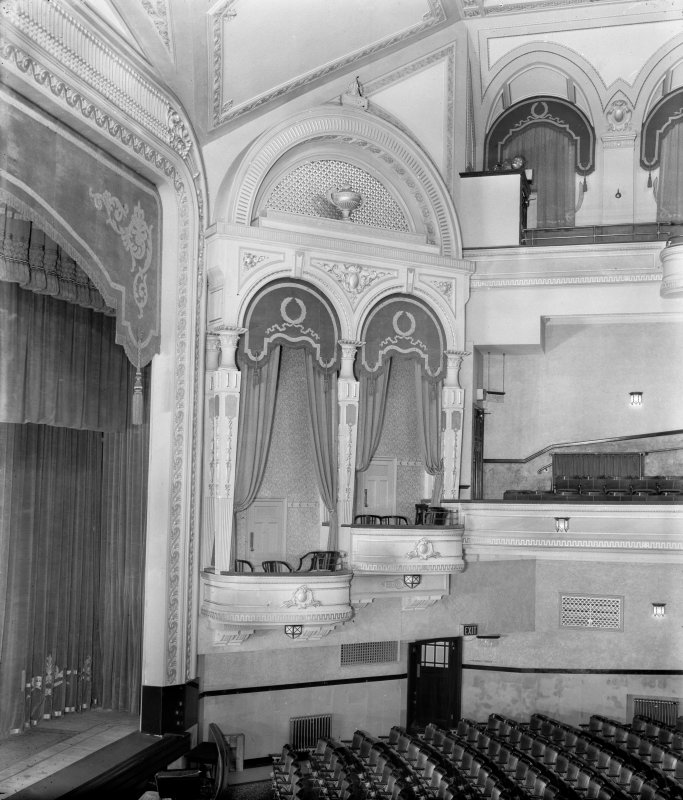 Interior. Auditorium, detail of boxes to right of stage.
