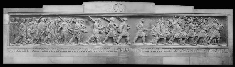 Detail of bas relief before erection of the Scottish American War memorial, West Princes Street Gardens, Edinburgh.